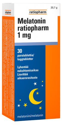 Melatonin ratiopharm 1 mg 30 purutabl.