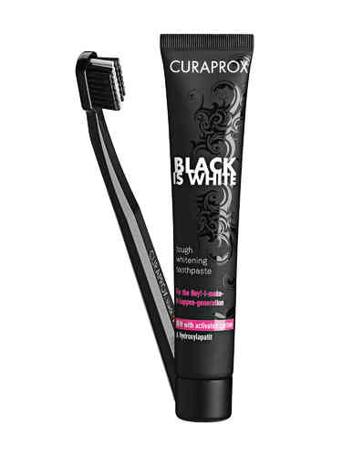 Curaprox Black Is White hammastahna 90 ml + hammasharja