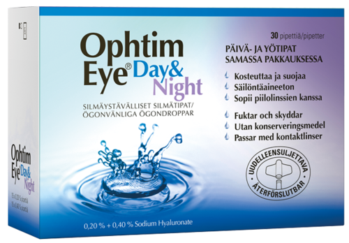 Ophtim Eye Day & Night silmätipat pipetit 15 + 15 kpl